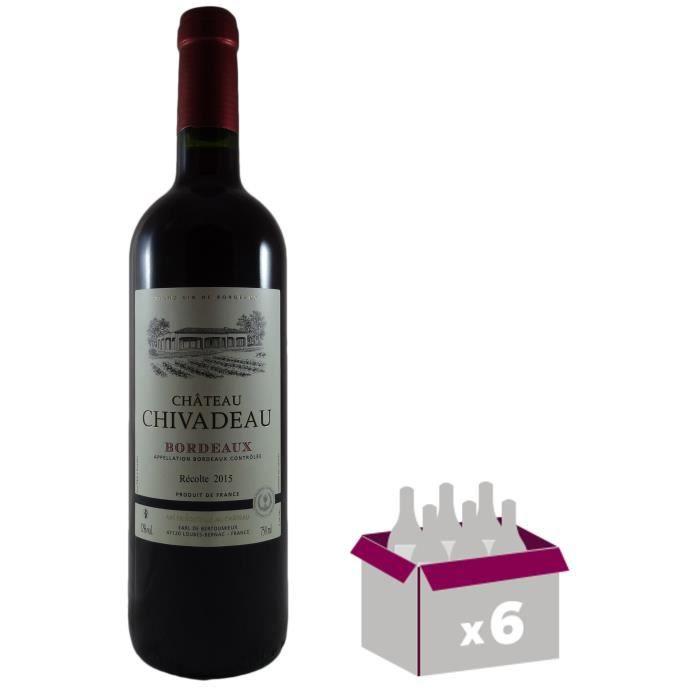 Château Chivadeau BORDEAUX ROUGE AOC - Millésime 2015 - 750 ml x 6VIN ROUGE