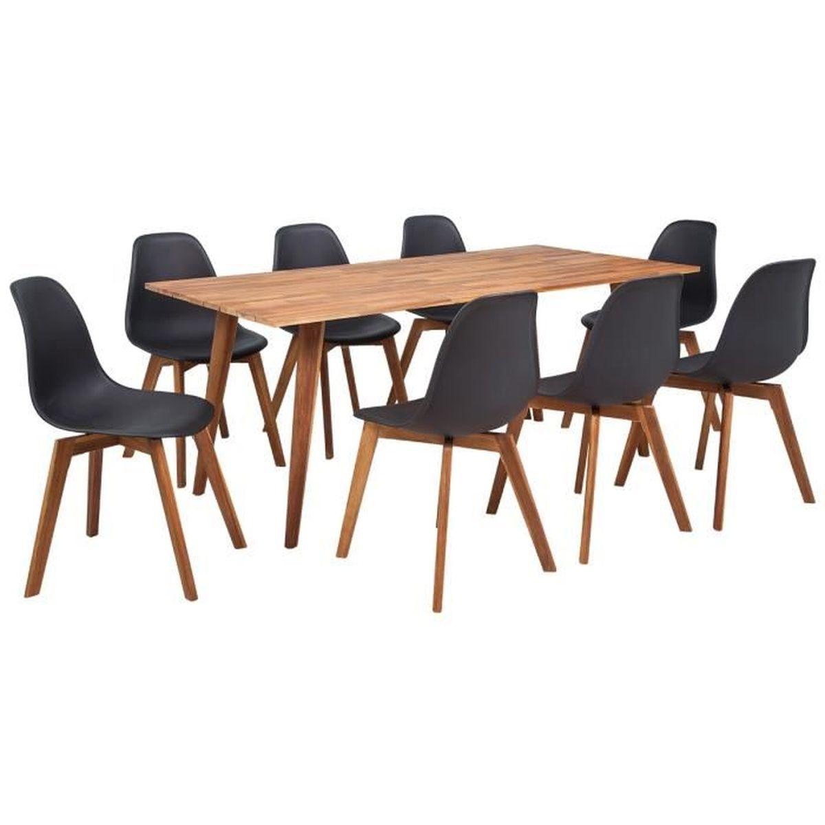 Set Complet De 8 Chaises Et Une Table Salle A Manger En Acacia 180 X