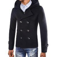 meilleure collection dernière sélection de 2019 qualité et quantité assurées Hommes Caban Veste homme chaud hiver Trench long Outwear Smart Button  Pardessus Manteaux @Noir