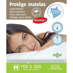 SWEET HOME Prot?ge-matelas Sara Fresh and Dry 160x200 cm blanc