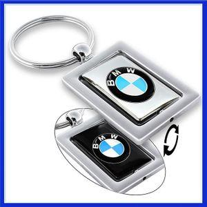 PORTE-CLÉS BMW Porte-clés Métal Chrome Tourne Noir Argent Acc