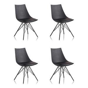 CHAISE Lot 4 chaises salle à manger design noires - Eiffe