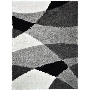 TAPIS NORA Tapis de salon shaggy - 120 x 160 cm - Gris a