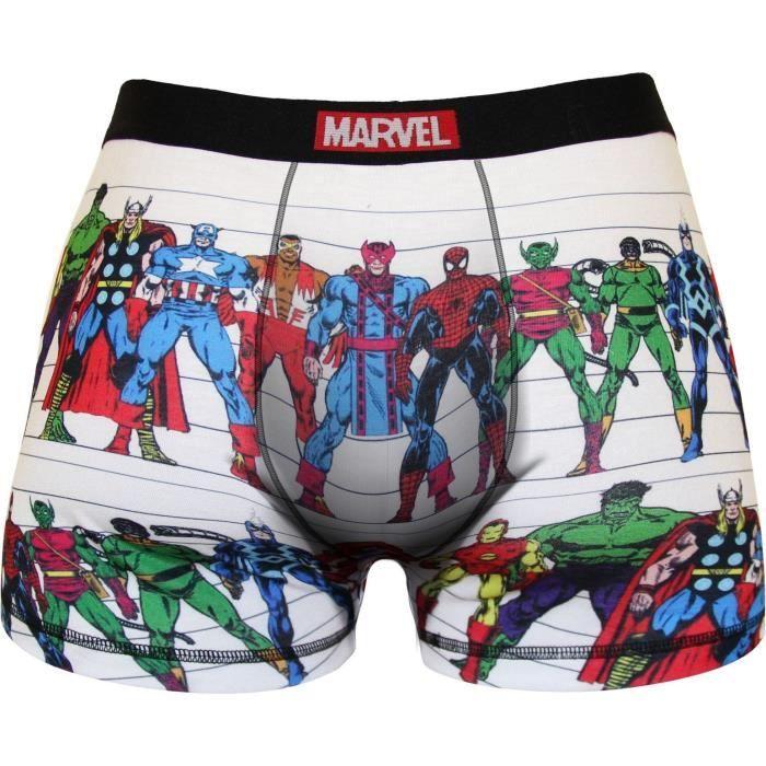 Boxer Homme Marvel Imprimé Héros Avengers - Blanc et multicolore