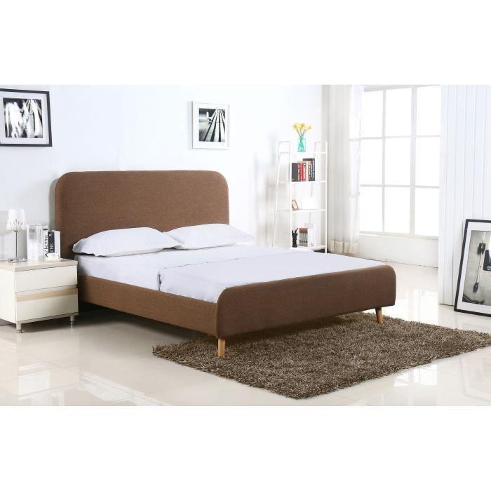 eriksen lit adulte sommier scandinave tissu marron l 166 x l 201 cm. Black Bedroom Furniture Sets. Home Design Ideas