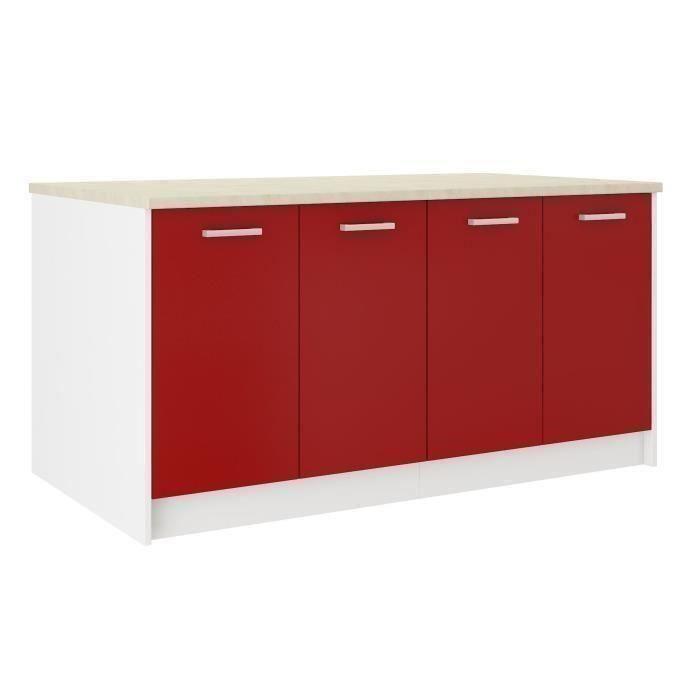 carmen ilot de cuisine l 1m64 avec plan de travail inclus rouge mat. Black Bedroom Furniture Sets. Home Design Ideas