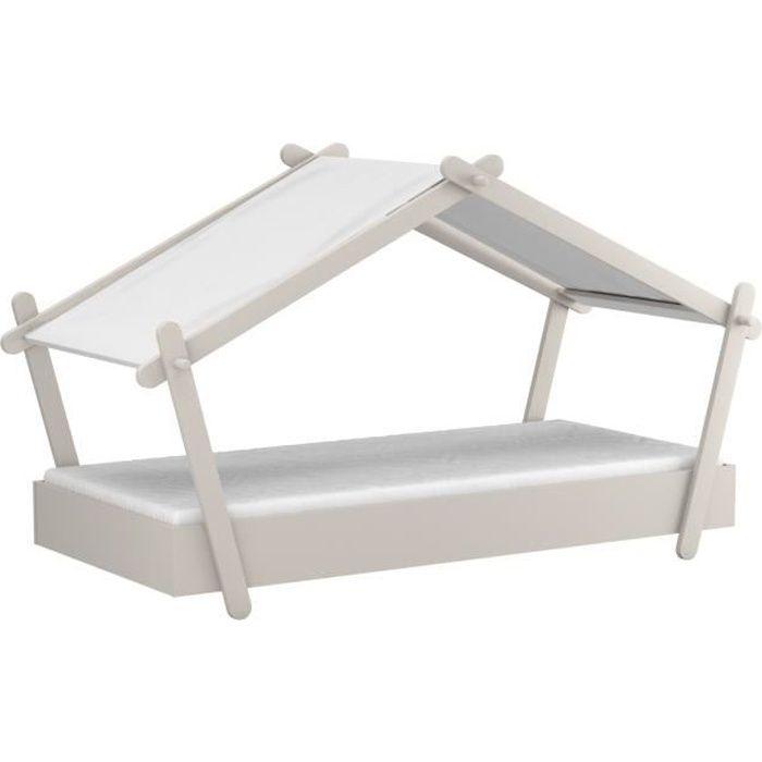 LODGE Lit cabane enfant - Mdf  - Gris - Sommier inclus - 90x200 cm