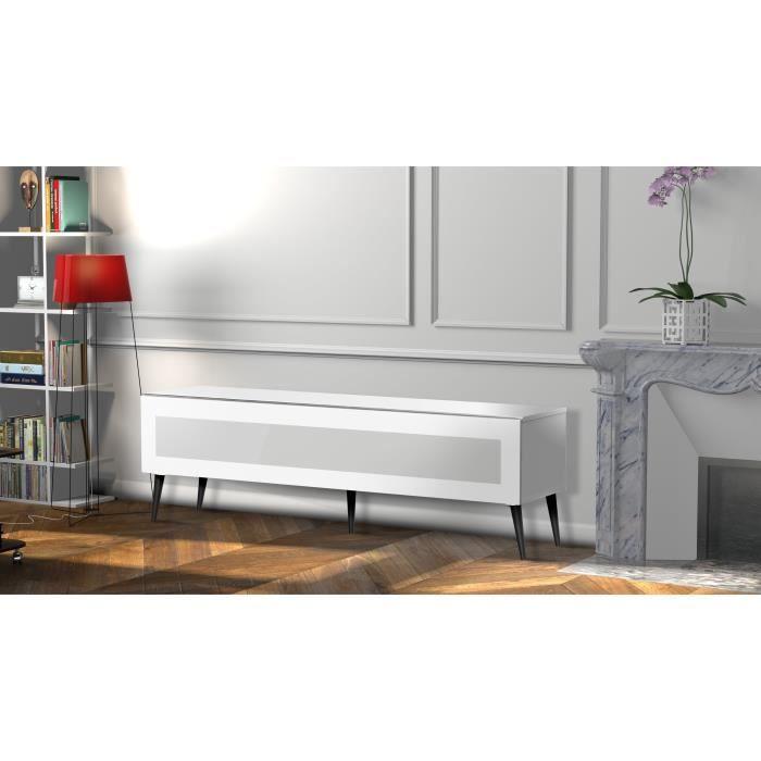 MELICONI GOTEBORG 160 Meuble TV - Longueur 160 cm - Porte abattante finition VERRE INFRAROUGE - Pieds Scandinaves couleur Noir