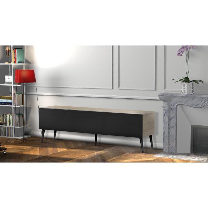 MELICONI UMEA 160 Meuble TV - Longueur 160 cm - Porte abattante finition TEXTILE - Pieds Scandinaves couleur Noir