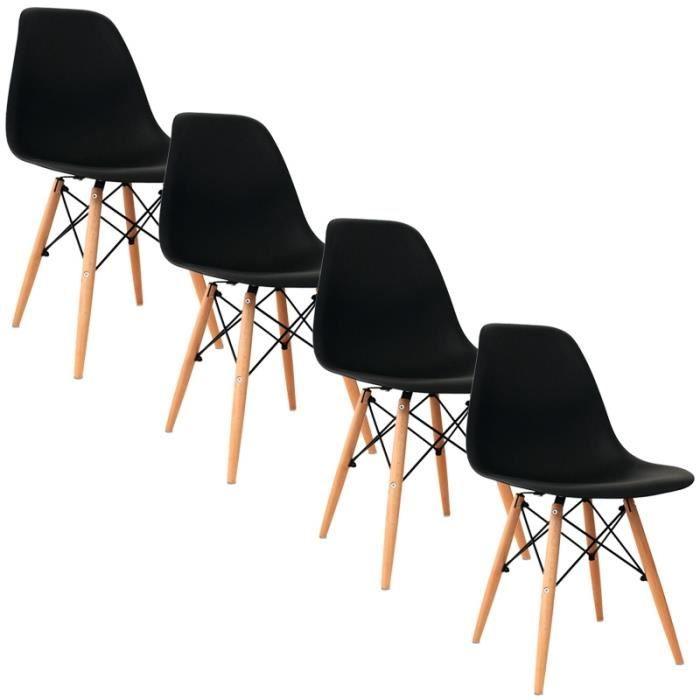 lot de 4 chaises noir design pieds en bois achat vente. Black Bedroom Furniture Sets. Home Design Ideas