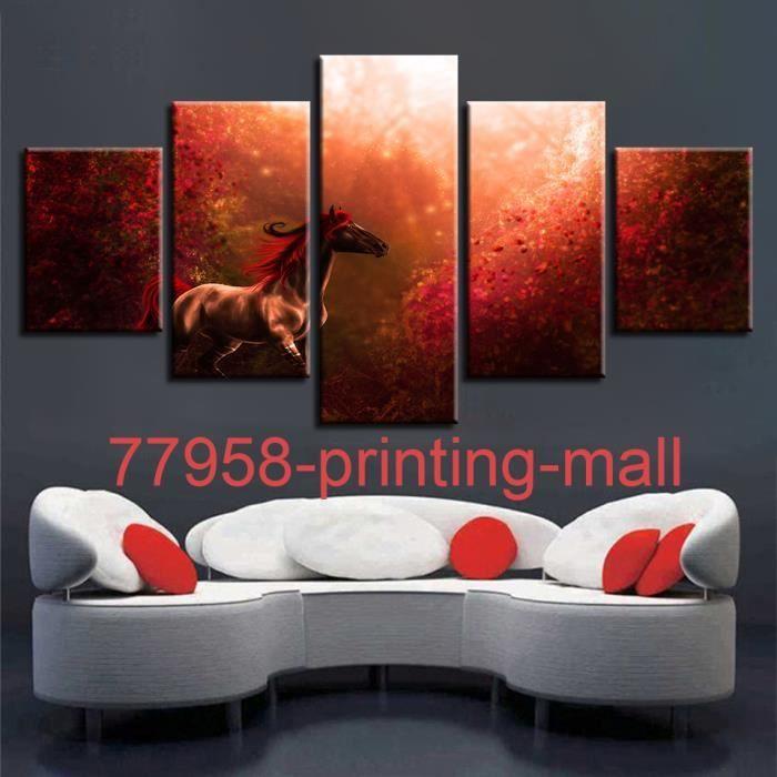 printing mall Sans cadré (Pas de cadre)Tableau decoration salon 5 panneaux  Rouge Forêt Beau Cheval Mur de toile Art Photos