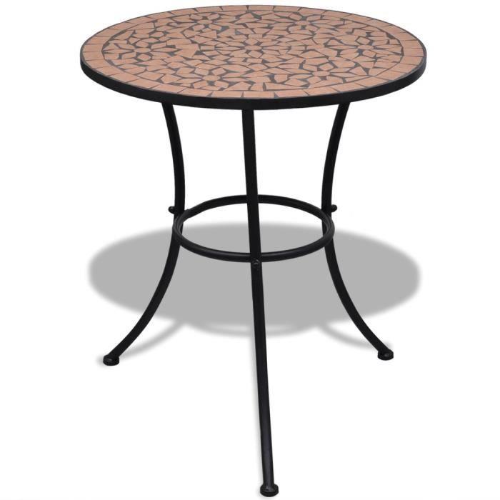 P184 Table mosaique en terre cuite 60 cm