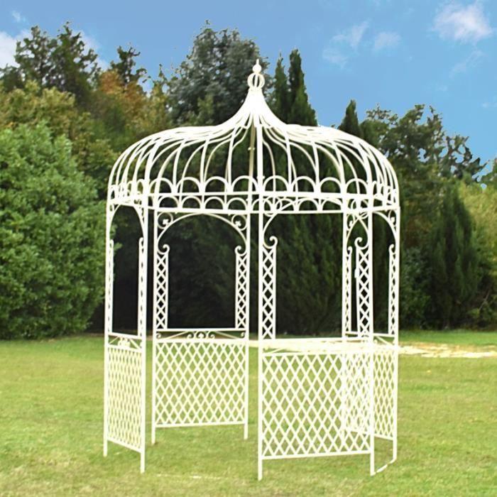 Gloriette Kiosque Tonnelle en Fer de Jardin Blanc ø200 cm - Achat ...