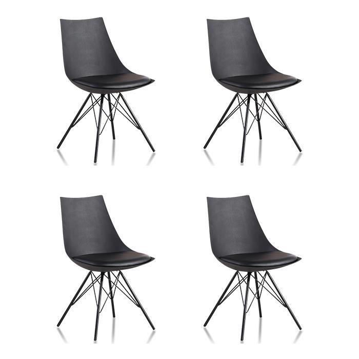 Lot 4 Chaises Salle à Manger Design Noires Eiffel Achat Vente