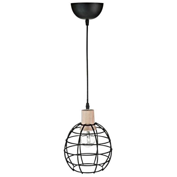 Suspension Lampe Neuve A Suspendre Metal Noir Bois Plafonnier 27cm