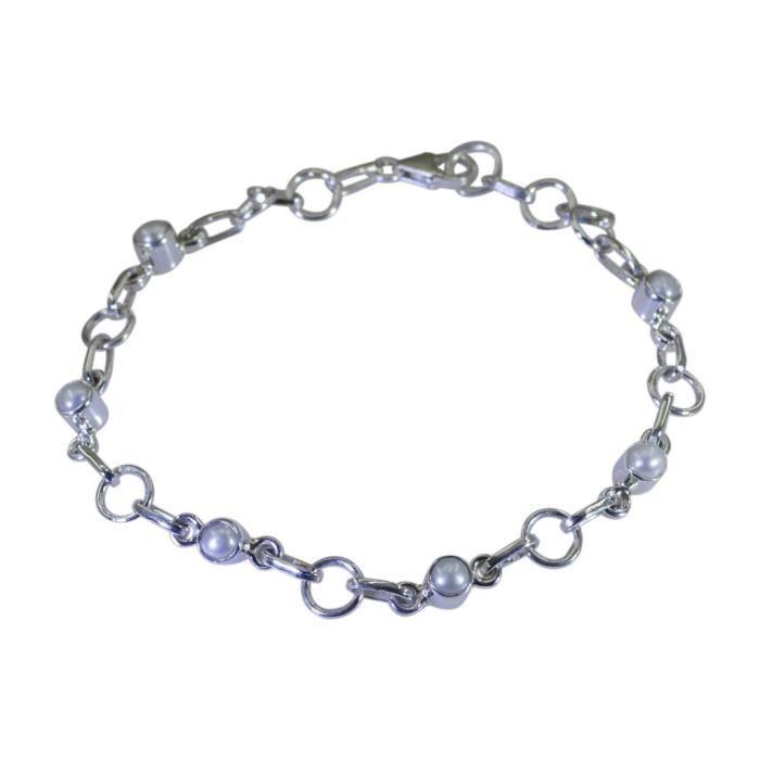 Bracelet de perles - Bracelet Argent - Bracelet Blanc - Argent Blanc Bracelet
