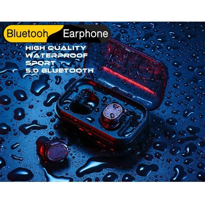 Ecouteurs Bluetooth 5.0 Tws-8 Noir Casques Sans Fil Mini-écouteurs Son Hifi Sport Etanche Avec Micro Pour Tous Les Téléphones
