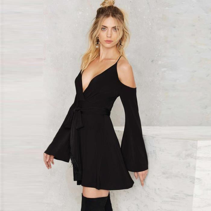 nouvelle robe sexy couleur pure flare manches de la femme avec le dos v ligne profonde et sangles crois es