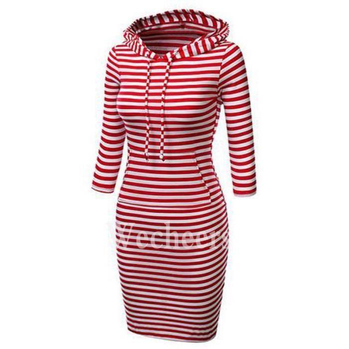 Robe pull à capuche emme robe section longue de rayuresmanteau pull à capuche T-SHIRT