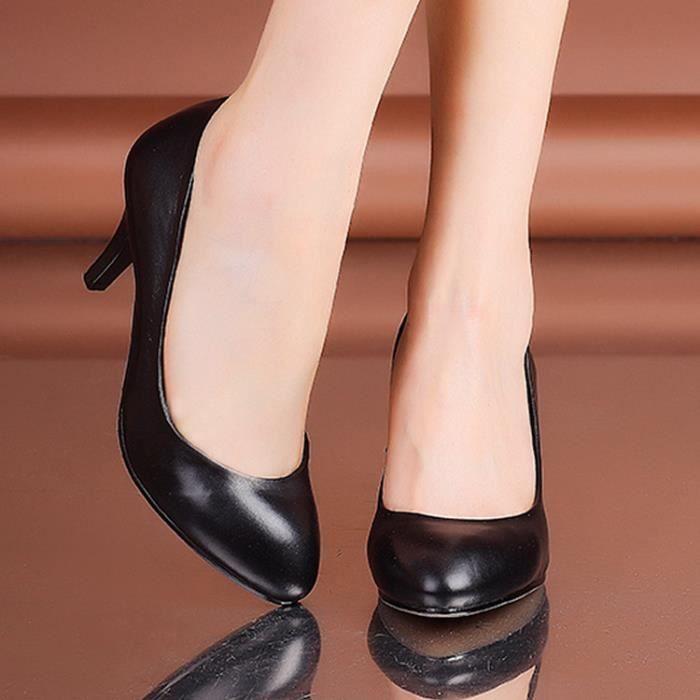 Noir orteil les femmes rondes à talons bas chaussures chaussures de soirée