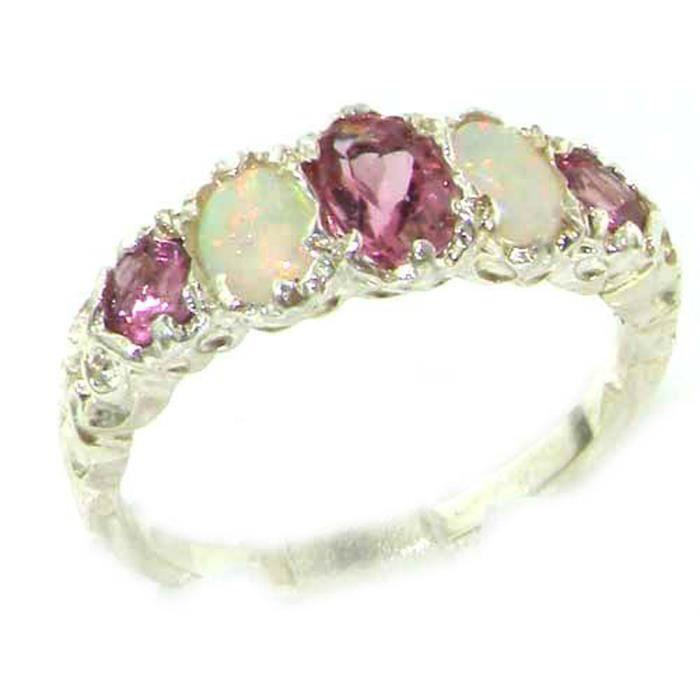 Bague pour Femme en Argent fin 925-1000 sertie de Tourmaline rose Opale- Tailles 50 à 64 PTjo3r3fw