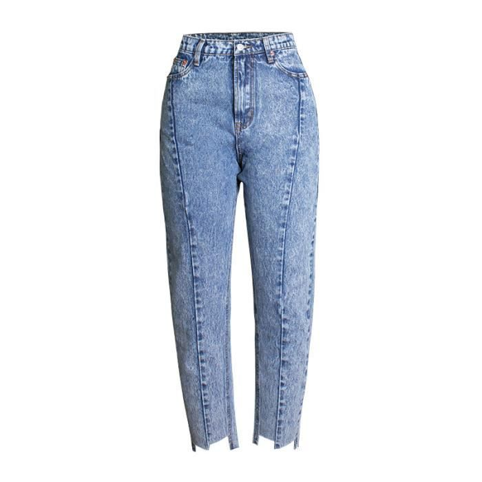 ab18c37e0625 Jean femme taille haute coupe droite large style BF mode SIMPLE ...