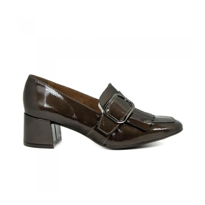 APLAUSO Chaussures Mocassin À Talon - Cuir Verni - Couleur Taupe - Taille - Quarante Femme Ref. 2345_23046 CdlVi8