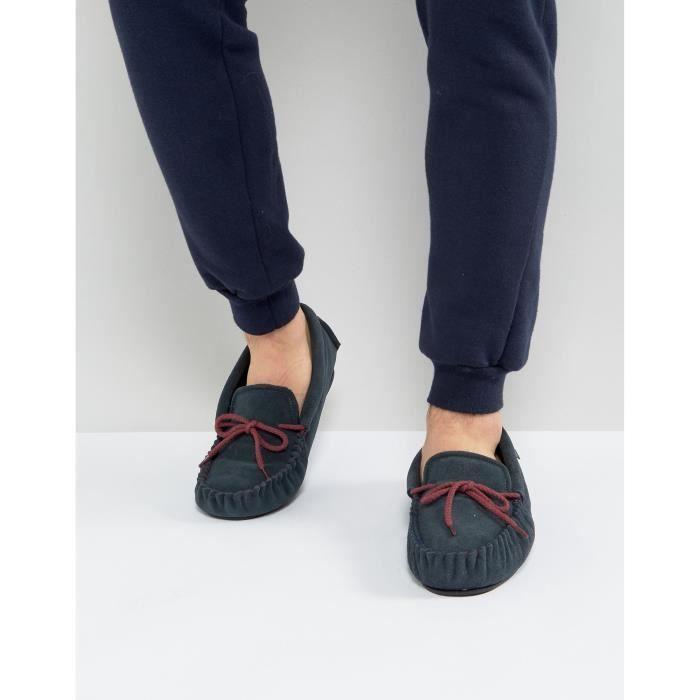 Dunlop - Chaussons en daim style mocassins - Bleu marine b68wooCaa