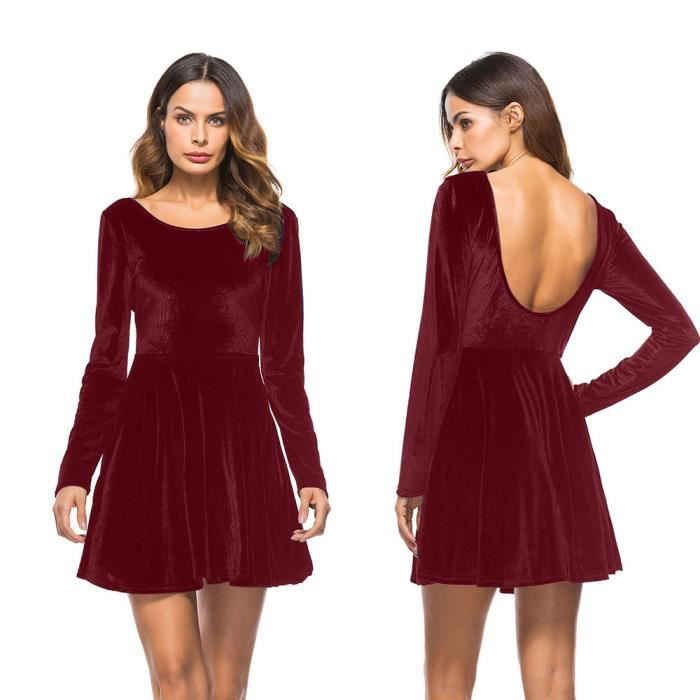 f27f2a02a3f Sexy Femmes Robe à Manches Longues Robe Dos Nu Soirée Patineuse Mini  Patineuse  XXL71215491WE