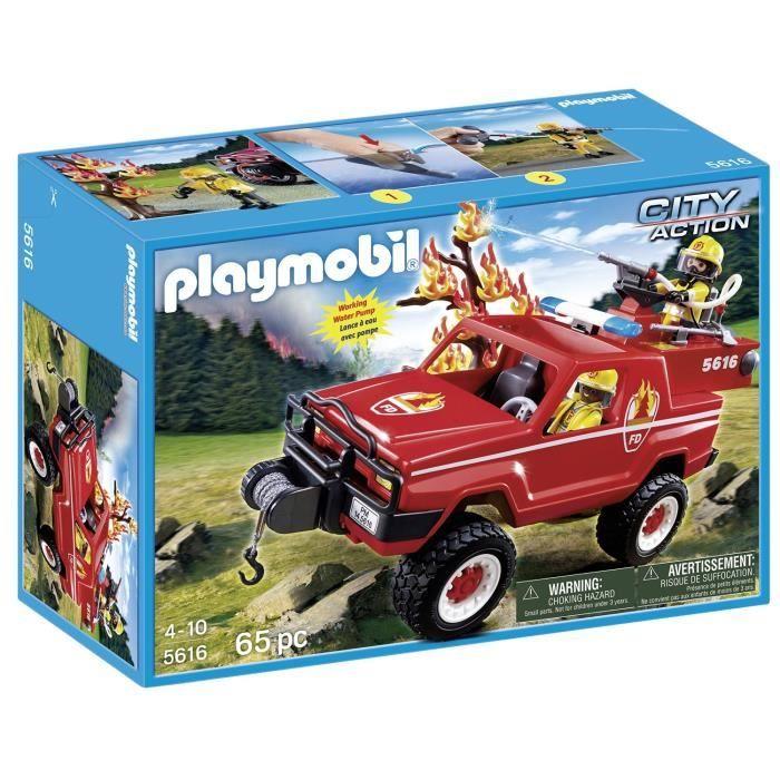 playmobil pompiers voiture 4x4 avec pompe lance eau 5616 achat vente figurine personnage. Black Bedroom Furniture Sets. Home Design Ideas