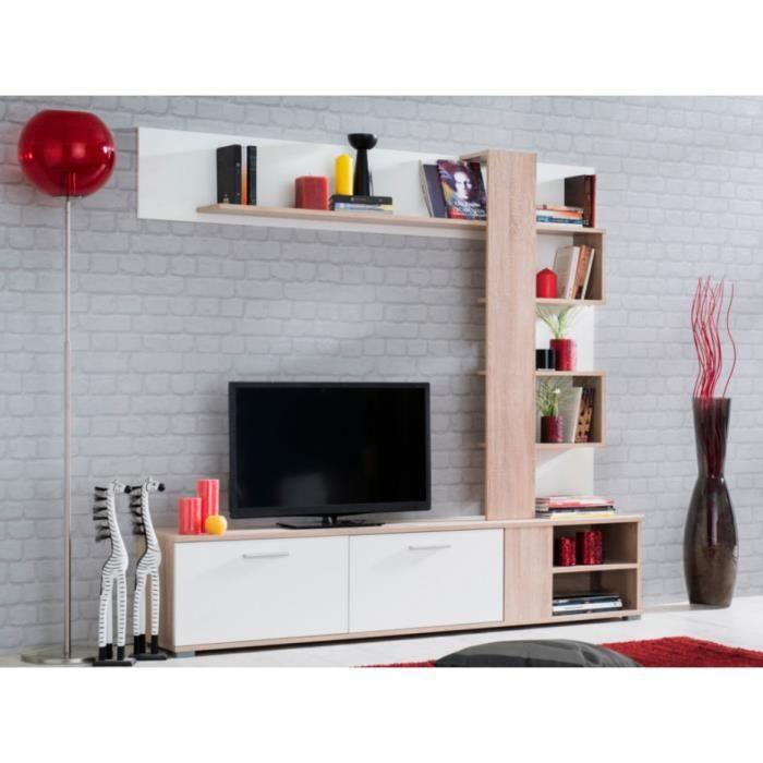 mur tv alwen avec rangements 2 portes 4 niches blanc et ch ne achat vente meuble tv. Black Bedroom Furniture Sets. Home Design Ideas