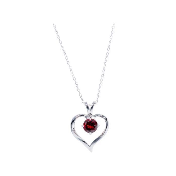 a5390fe0e8095 Collier Argent Coeur Grenat Victoria Kiss - Achat   Vente sautoir et ...