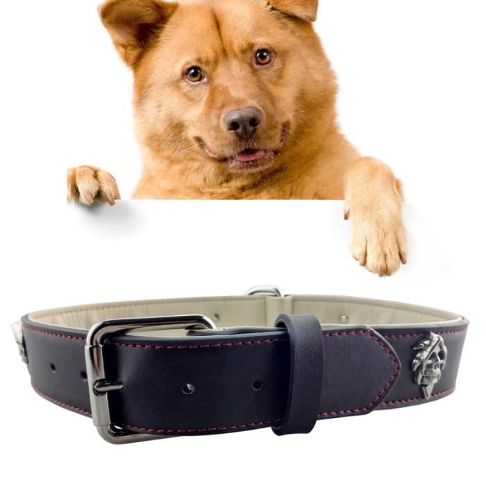 Collier Chien & Chat Rouge Et Noir Suture De Soie En Cuir Avec Des Conceptions Crâne D'alliage Pet Dog Collar Products Big