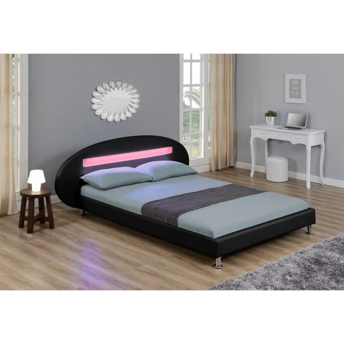 orion lit led adulte 160x200 cm noir achat vente structure de lit orion lit 160x200 noir. Black Bedroom Furniture Sets. Home Design Ideas