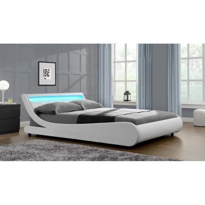 mercure lit adulte contemporain simili blanc s o trouver loffre lit 160x200 avec led - Lit 160x200 Avec Led