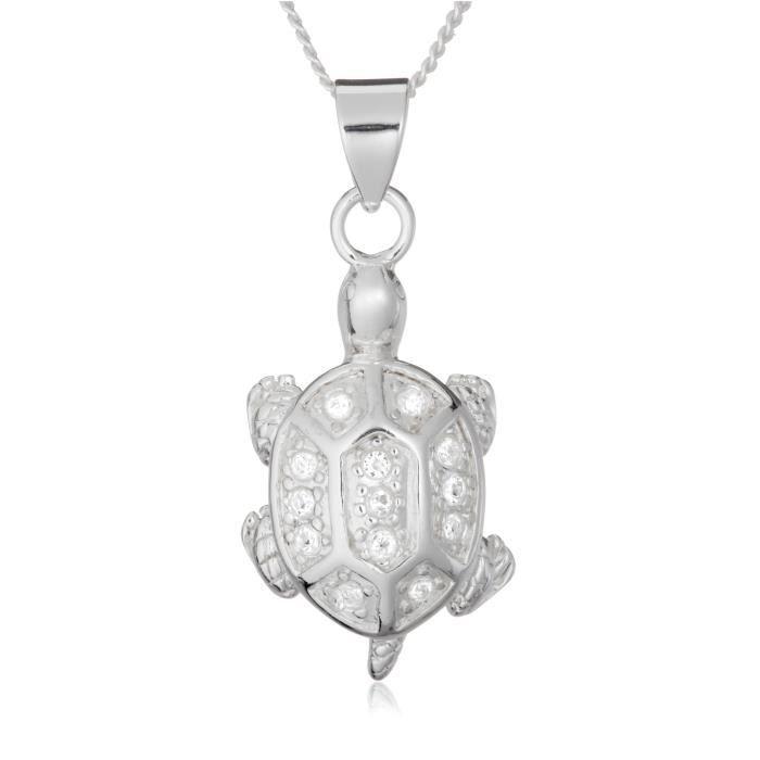 f3c16de9ba0c Argent Cristal Blanc Tortue Pendentif Collier Chaîne gourmette  réglable1Z8P0R ...