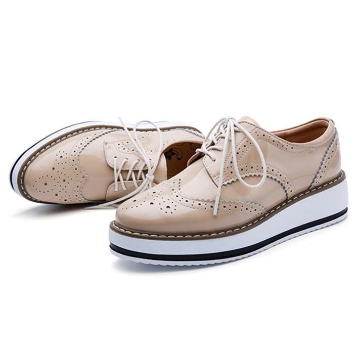 DADAWEN Brogues Femmes- Chaussures de Ville à Lacets Derbies Baskets Cuir Plateforme noir 35 rOWFpb3