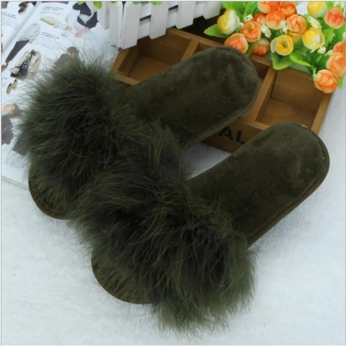 Femmes Mode hiver Autruche Accueil Flip Flop Thicker en peluche épais bas mot antidérapante Coton Pantoufles 5 couleurs