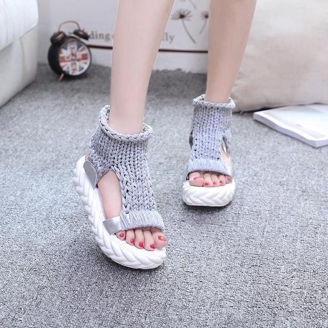 Femmes & # 39; Mode d'été poisson Bouche Sandales Tissé Chaussures Plate-forme,gris,5