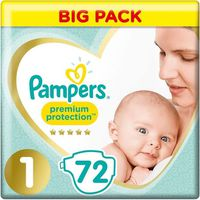 Pampers New Baby  Taille 1, 2-5 kg - 72 Couches - Jumbo Pack