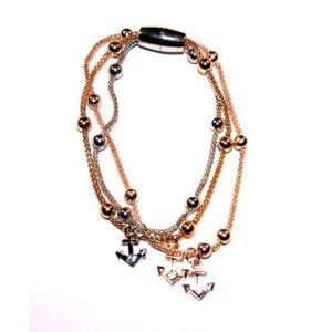 fbb36e18038c4 Bracelet femme wrap 3 fils breloque ancre marine fermoir aimant 3 or ...
