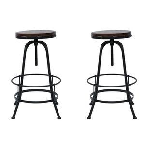 TABOURET DE BAR Tabouret de Bar en Pin et Métal Style Industriel H