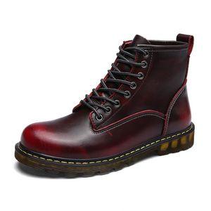 BOTTINE Martin Hommes Cuir Chaussures Bottine Rouge + fluf