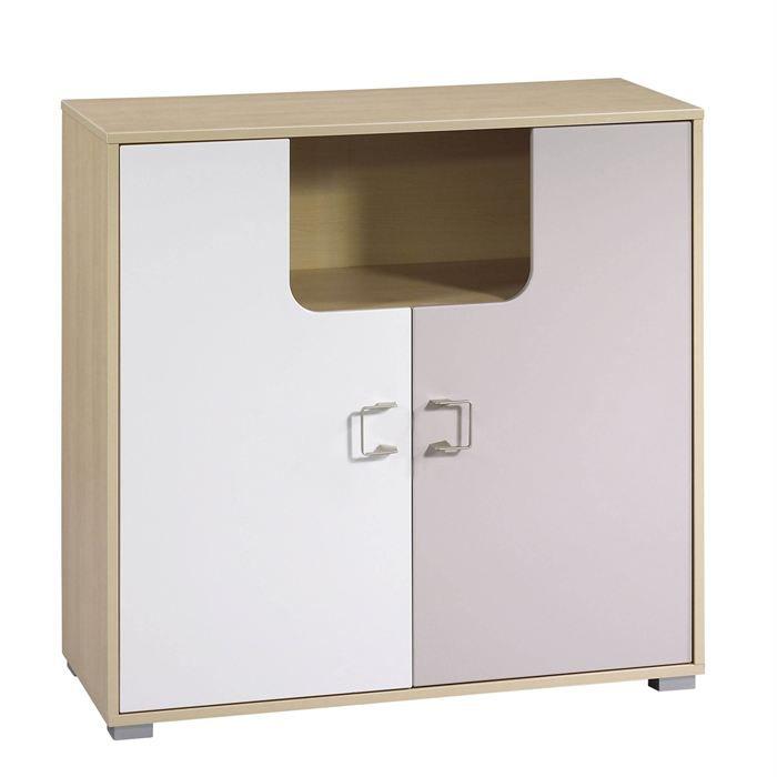 Modèle Yoko - Commode 2 portes - Dimensions : L94 x H94 x P45 cm - Coloris : Blanc/beige - Dès la naissance - Garçon & fille - Livré à l'unité.COMMODE BEBE