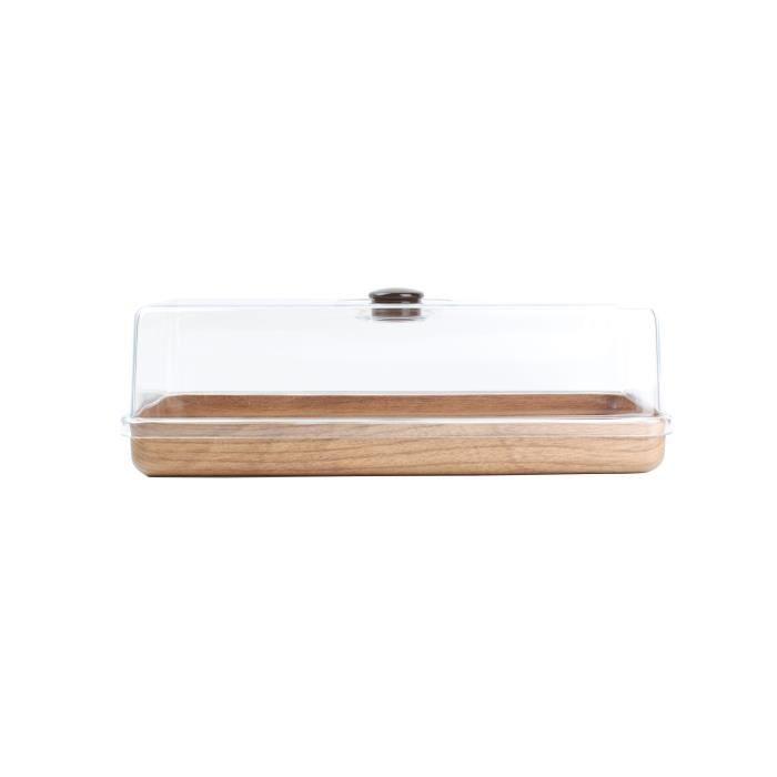 AERTS Plat à cake avec cloche - 39 x 16 cm - Rectangulaire