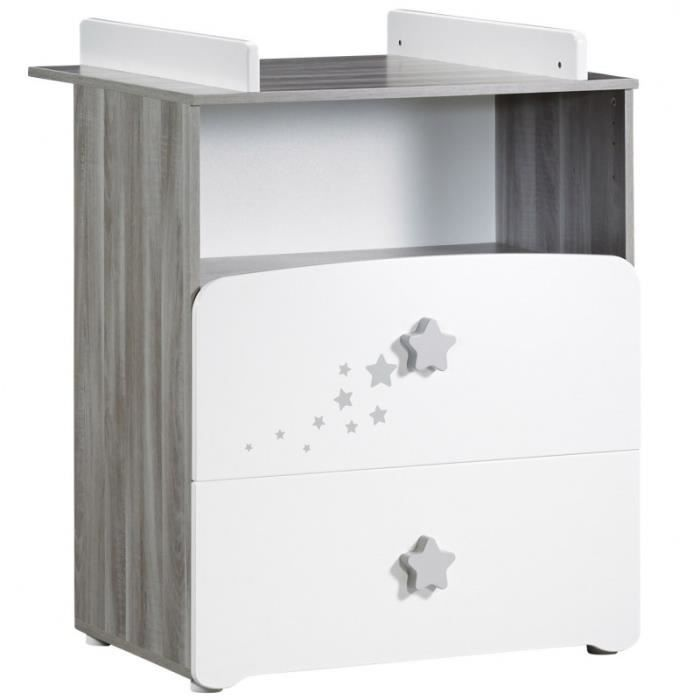 BABY PRICE New Nao Commode à Langer 2 Tiroirs + 1 Grande Niche