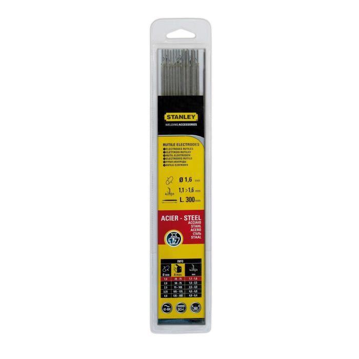STANLEY 460716 Lot de 17 électrodes rutiles acier - Ø 1,6 mm - L 250 mm - Baguettes de soudure