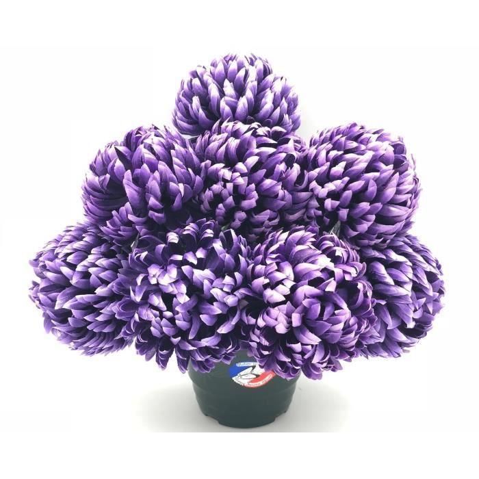 UNE FLEUR EN SOIE Pot de chrysanthèmes boules mauve fonce - 36 cm