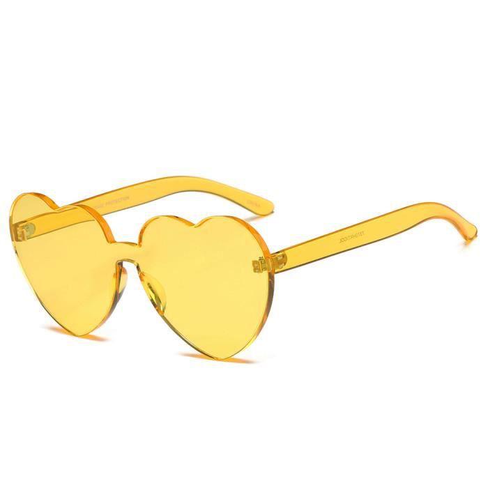 Lunettes de soleil femme marque de Luxe de Fashion enEn forme de coeur sunglasses Frameless Jaune