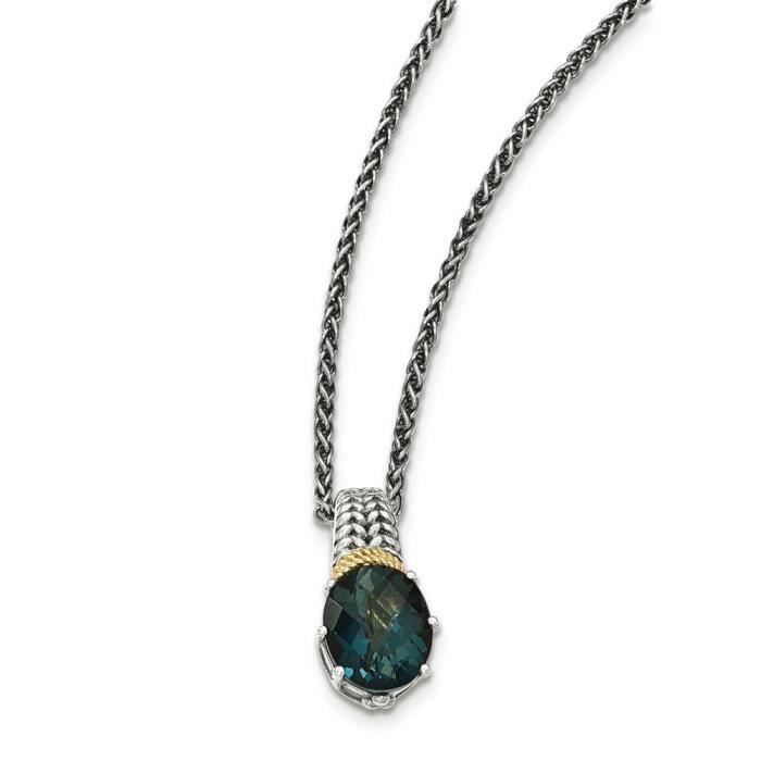 14 carats Argent fin 925/1000 avec Topaze Bleu Collier Londres